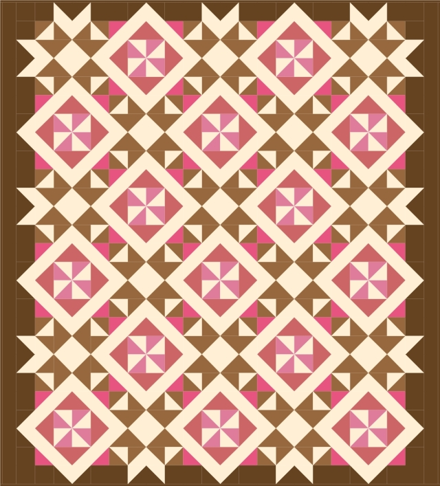 brown - pink with pieced border