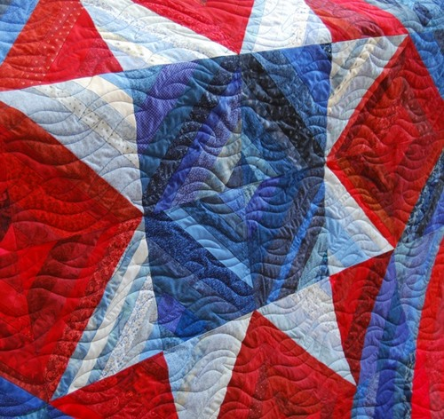 Patriotic String Star quilting