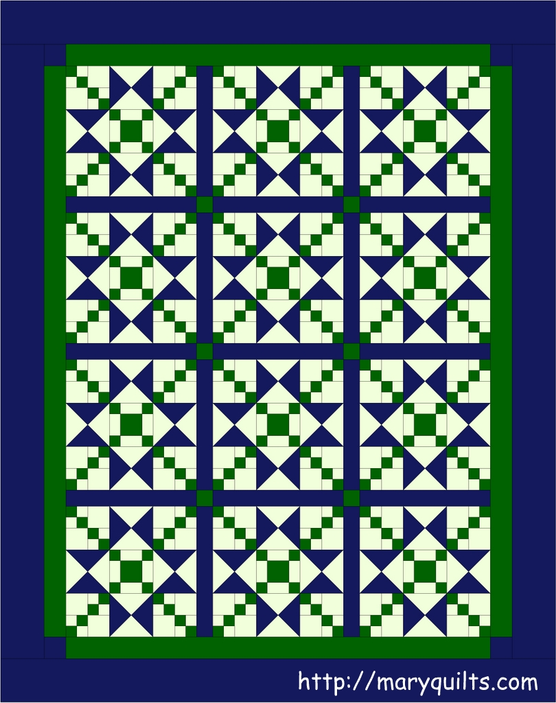 Blue Green Stars Maryquilts